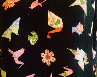 Silk origami print top
