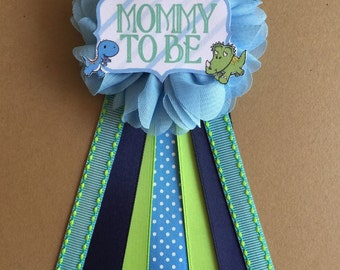 Boy Dinosaurs Baby Shower Pin Mommy to be pin Flower Ribbon Pin Corsage Glitter Rhinestone Mommy Mom New Mom Its a boy