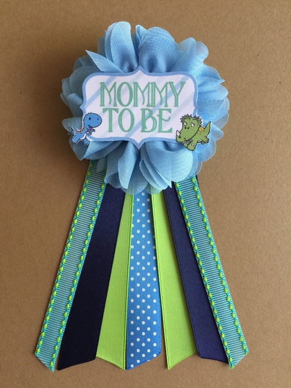 boy dinosaurs baby shower pin mommy to be pin flower ribbon
