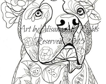 Love Pitbulls - Digital Download - Dog Art