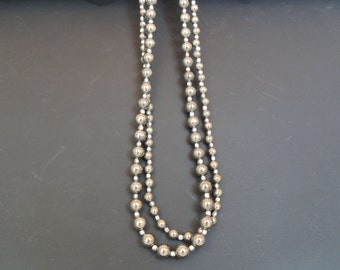 Double Strand Pyrite Rounds Silver Gift Style