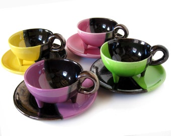 RESERVED 4 Vallauris coffee cups, multi color, half black metallic, tripod feet, mid century design, Auguste Lucchesi