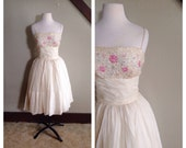 Cosmic Love 1950s Cream Tulle Party Dress with Pink/Iridescent Sequin Bodice