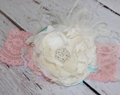 Peaches and Cream Headband-Baby Girl Headbands-Baby Headbands-Toddler Headbands-Headbands-Photo Prop