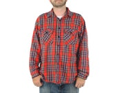 Plaid Shirt - Medium Size 42 Grunge Unisex 1980s 80s Checked Woodsman Lumberjack Flannel Jacket Coat Cardigan Shirt Button Up Nirvana Red