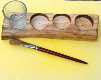 Wooden paint jar holder / Waldorf painting / Reclaimed wood