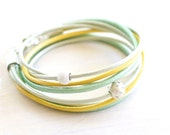 Leather Wrap Bracelet -  Soft Mint Green & Metallic Yellow Leather with Crystal Studded Silver Bead - Gift For Her