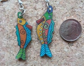 Funky Fun Fish Earrings -- Light as Air -- Mismatched for Fun (F103)