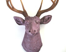 MAUVE with natural-looking antlers Faux Taxidemy Deer Head Animal Head Wall Mount Wall Hanging Home Decor:  Deerman the Deer Head / woodland