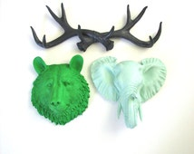 Set of 3 ANY color:  1 antler rack and any 2 small faux taxidermy animal head wall mounts wall hanging nursery office children's collection
