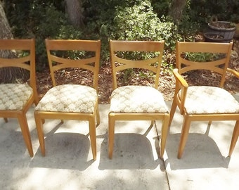 Heywood Wakefield Cat's Eye Dining Chairs M553 Champagne Set of 4