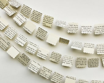 Paper Garland, Wedding Decorations, Book Page Garland, Book Theme Party Decoration, Wedding Garland, Made to Order, 10 feet long