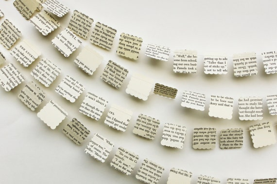 paper garland wedding decorations book page garland book - Book Page Decorations