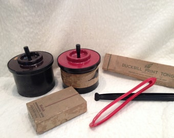 Vintage Photography Lot Developing Tanks, Tongs and Print Paper