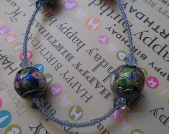 Blue Enameled Crystal Necklace