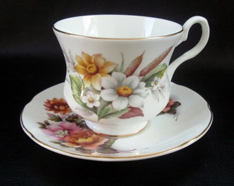 Floral demitasse cup and saucer, vintage ornate white porcelain tea cup, pink yelow flowers, Royal Grafton fine china