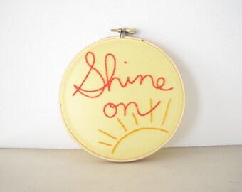 "Embroidery Hoop Wall Art Room Decor - ""Shine On"" bright yellow sun sunshine tangerine orange happy motivational inspirational dorm"