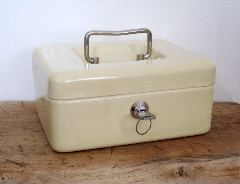 Vintage French Metal Cash Box Industrial Decor Money