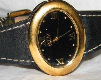 Vintaget Ecclissi Black Leather Quartz Watch