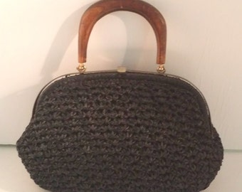 Vintage Black Raffia Purse with Wooden Handle -- Barbara Lee, Made in Italy