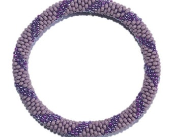 Reserved for Shala - Lavendar and Neon Purple Crocheted Beaded Bracelet, Seed Beads,Nepal, PB327