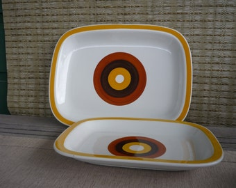Vintage Tableware by Rörstrand, FOKUS, Set of 2 Serving Platters, Mid Century Modern