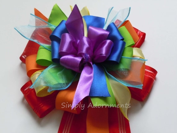 Rainbow Party Decor Rainbow Birthday Party Decorations Whimsical Rainbow Gift Bow Rainbow Wedding Aisle Ceremony Decor Handmade gift bow