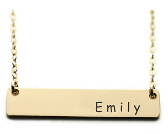 Name Bar Necklace - Personalized Custom Hand Stamped - Brass - 18 Inch Chain Length with Clasp