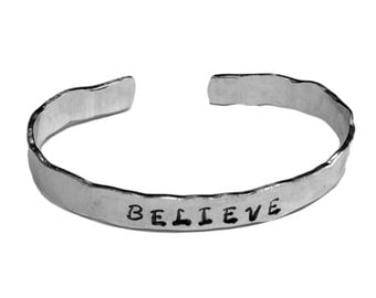 "Believe - Confidence Bracelet Cuffs 1/4"" Hand Stamped Aluminum Copper Brass"