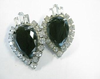 Vintage 1980's Art Deco Themed Bold Rhinestone, Black & Clear, Pierced Earrings