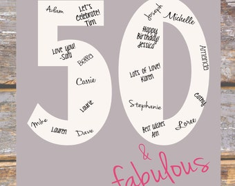50th Birthday Signature Print- INSTANT DOWNLOAD