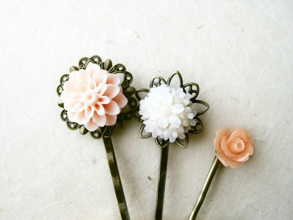 Peach Flower Hair Pins. Antique Bronze Filigree Bobby Pins with Resin Flowers Rose, Chrysanthemum. Set of 3 Spring Wedding Hair Accessories.
