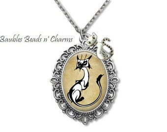 Sassy Cat-2 Pendant Necklace Jewelry, Siamese Cat Art Necklace Jewelry, White Cat Photo Charm Necklace, Cat Picture Charm Necklace
