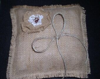Rustic Burlap Wedding Ring Bearer Pillow in 16 Colors Burlap