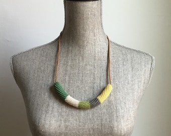 Crochet Cord Necklace // Greens + Yellow