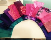 Purple, Pink,and Teal Fancy Fabric Kit for Crazy Quilts, Etc.
