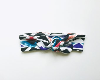 geometric, aztec, tribal, geo, fall, headband, knotted headband, tie up head wrap - one size fits all