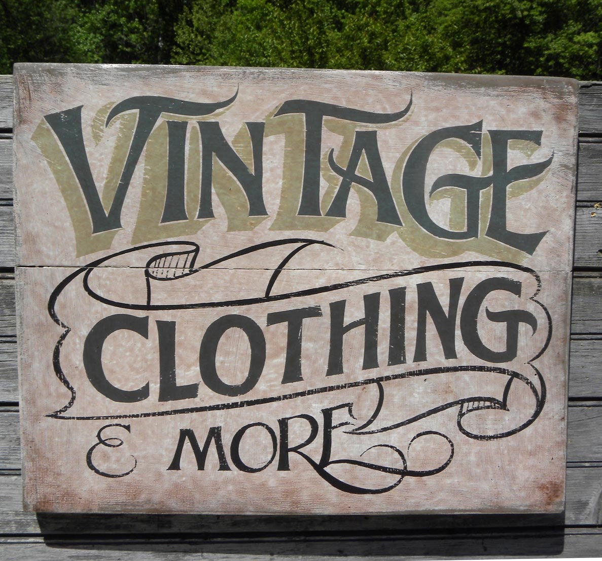 Vintage Clothing Sign hand painted faux vintage wooden
