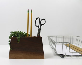 Modern Wood Desk Organizer with Succulent Planter