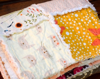 Rag Crib Quilt, Cat Quilt, Butterfly Quilt, Blue Quilt, Peach Quilt, Gray Quilt, Ready to Ship Quilt