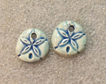 Floral or Sand Dollar ceramic charm jewerly components