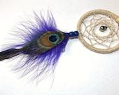 Purple Peacock Dreamcatcher Pendant Necklace With Purple Leather Cord