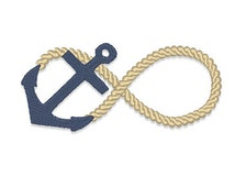 Infinity Anchor Embroidery Design - Instant Download