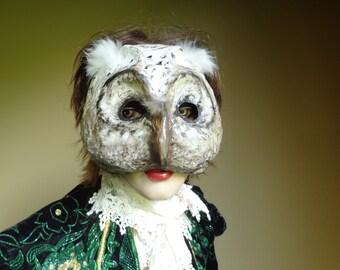Paper mache owl mask, owl costume, bird mask