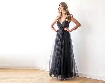 Black straps wrap tulle maxi gown, Bridesmaids black strap dress 1053