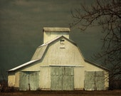 Old White Barn, Barn Photo, Print, Farm Building Photograph, Country Structure, Dark Sky,  Architectural Photos