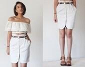 80's Khaki Japanese tulip paper bag button up mini skirt