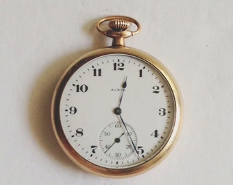 1920 Elgin open face Size 12s pocket watch. Excellent Time ...