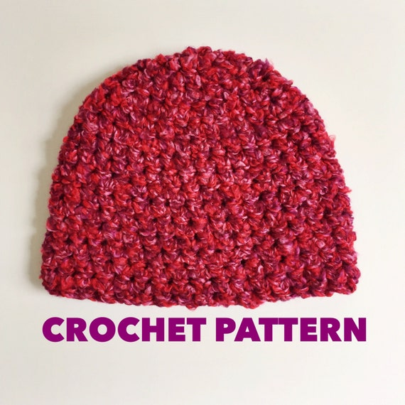 Crochet Hat Pattern Super Bulky Yarn : Items similar to Kiss Me Beanie Crochet Pattern- Mens ...