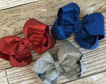 Glitter bows xl 5in  (multiple colors to choose from )